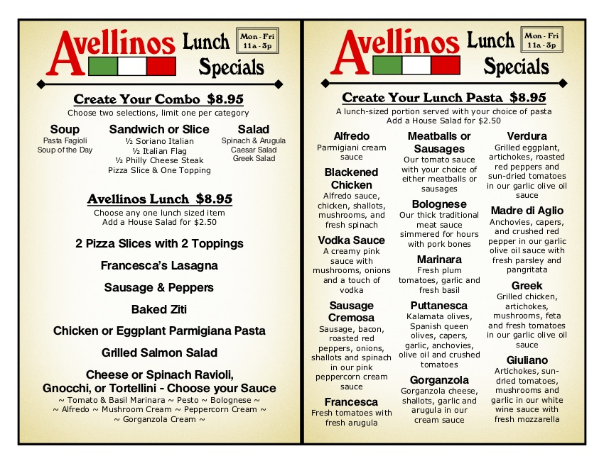 Avellinos-Lunch-Menu